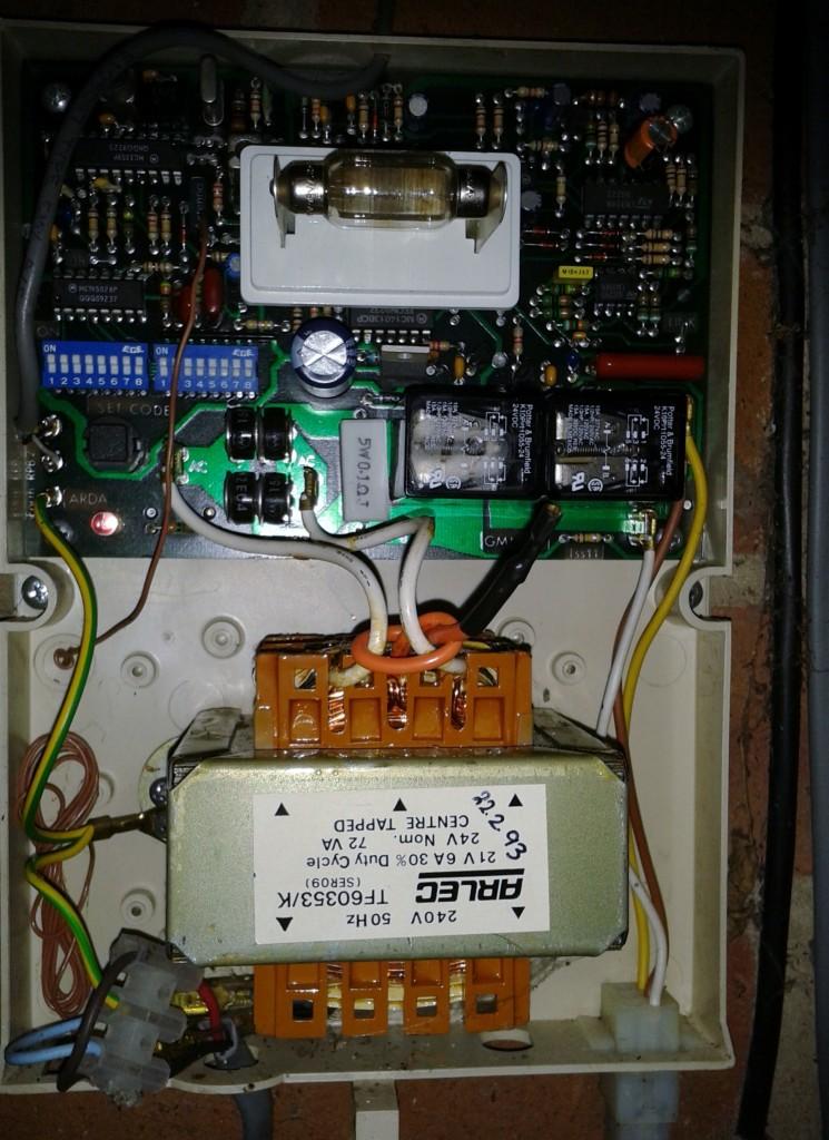 Glidermatic roller door controller box open